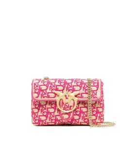PINKO LOVE MINI PUFF SOFT RAFIA MAGENTA CROSSBODY BAG