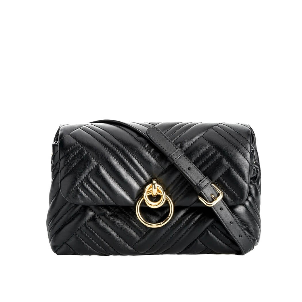 PINKO LOVELINK CLASSIC PUFF WOVEN BLACK CROSSBODY BAG