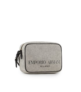 EMPORIO ARMANI GREY CANVAS CROSSBODY BAG