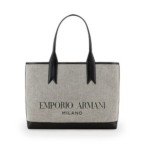 BORSA SHOPPING CANVAS GRIGIO EMPORIO ARMANI