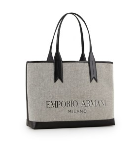 EMPORIO ARMANI GREY CANVAS SHOPPING BAG
