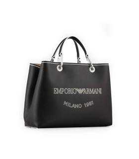 EMPORIO ARMANI MYEA BLACK SHOPPING BAG WITH LOGO