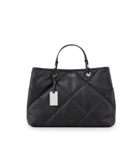 EMPORIO ARMANI MYEA QUILTED BLACK SHOPPING BAG