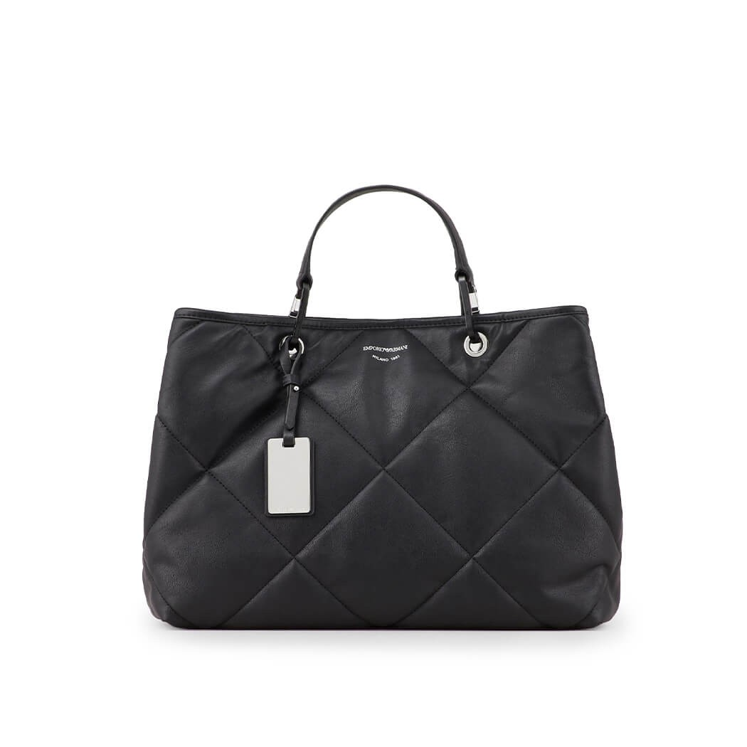 Emporio Armani Bags MYEA QUILTED BLACK SHOPPING BAG