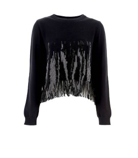 PINKO SNOWBOARD BLACK CROP JUMPER WITH SEQUINS