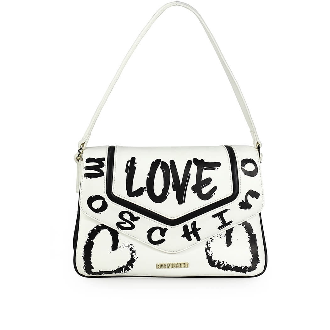 Love Moschino Bags GRAFFITI WHITE SHOULDER BAG