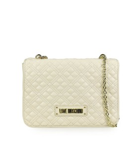 LOVE MOSCHINO QUILTED NAPPA IVORY SHOULDER BAG