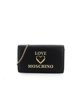 LOVE MOSCHINO BLACK CLUTCH WITH LOGO