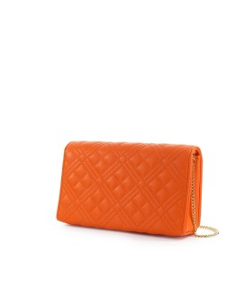 LOVE MOSCHINO QUILTED ORANGE NAPPA CLUTCH