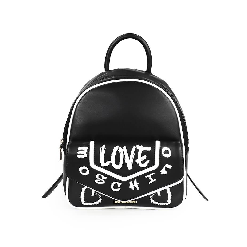 Love Moschino Bags GRAFFITI BLACK BACKPACK