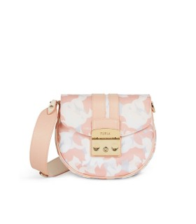 FURLA METROPOLIS ROUND MINI PINK WHITE CROSSBODY BAG