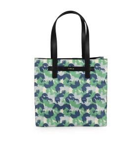 FURLA DIGIT BLUE GREEN CREAM SHOPPING BAG