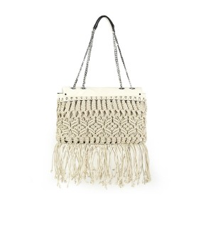 LA CARRIE BEIGE ROPE SHOPPING BAG