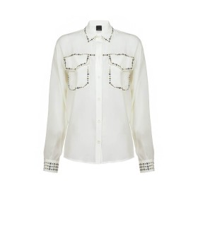 PINKO RILASSATO WHITE SHIRT WITH STUDS