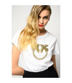 PINKO QUENTIN 1 WHITE T-SHIRT WITH LOGO