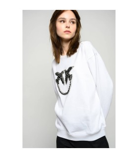 PINKO NELLY 2 WHITE BLACK SWEATSHIRT