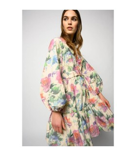 PINKO EMANCIPATO TAFFETA MULTICOLORED DRESS