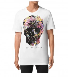 PHILIPP PLEIN SS COLORFUL SKULL WHITE T-SHIRT