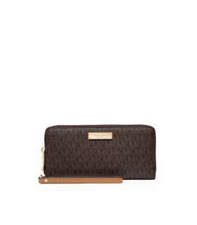 MICHAEL KORS TRAVEL CONTINENTAL MONOGRAM BROWN WALLET