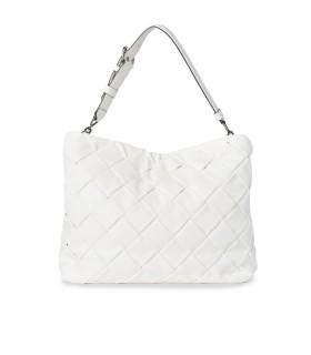 KARL LAGERFELD K/KUSHION BRAID WHITE SHOPPING BAG