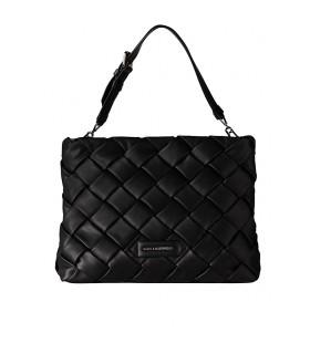 KARL LAGERFELD K/KUSHION BRAID BLACK SHOPPING BAG