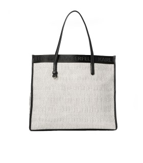 KARL LAGERFELD K/SKUARE WHITE BLACK SHOPPING BAG