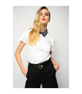 PINKO ALLEGATO WIT CRYSTAL T-SHIRT