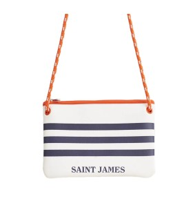 SAINT JAMES NEO WHITE NAVY BLUE CLUTCH BAG