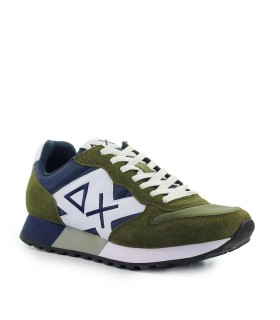 SUN68 JAKI BICOLOR MILITARY GREEN NAVY BLUE SNEAKER