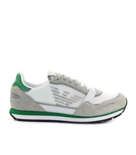 EMPORIO ARMANI WHITE GREEN BEIGE MESH SNEAKER