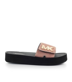 MICHAEL KORS MK ROSE GOLD PLATFORM SLIDE
