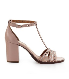 VIA ROMA 15 PINK HEELED SANDAL WITH STUDS
