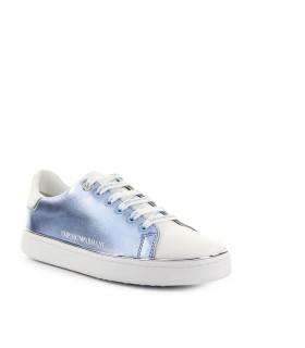 EMPORIO ARMANI WHITE LIGHT BLUE SNEAKER