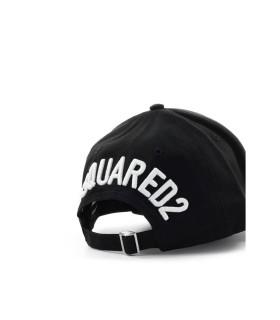 DSQUARED2 BLACK BASEBALL CAP WITH WHITE LOGO