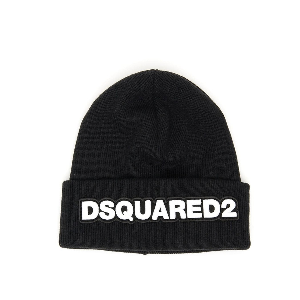 DSQUARED2 BLACK BEANIE WITH LOGO