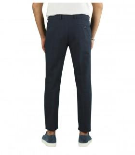 BERWICH MORELLO OVERCHECK BLUE CHINO PANTS