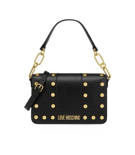 LOVE MOSCHINO BLACK SCHOULDER BAG WITH GOLD STUDS