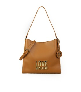 LOVE MOSCHINO BONDED LIGHT BROWN GOLD SHOULDER BAG