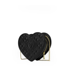LOVE MOSCHINO QUILTED HEART BLACK CROSSBODY BAG