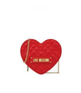 LOVE MOSCHINO QUILTED HEART RED CROSSBODY BAG