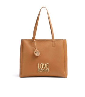 LOVE MOSCHINO BONDED LIGHT BROWN GOLD SHOPPING BAG