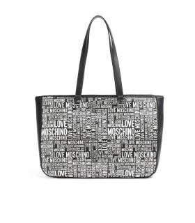 LOVE MOSCHINO BLACK SHOPPING BAG WITH WHITE LOGO
