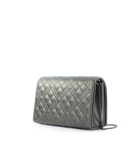 LOVE MOSCHINO QUILTED GUNMETAL CLUTCH