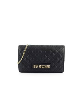 LOVE MOSCHINO BLACK QUILTED CLUTCH