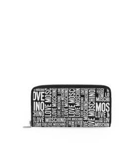 LOVE MOSCHINO BLACK LARGE WALLET WITH WHITE LOGO