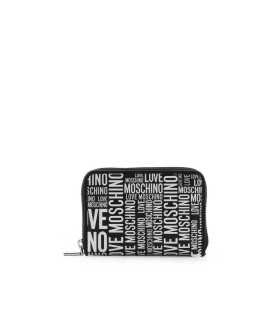 LOVE MOSCHINO BLACK SMALL WALLET WITH WHITE LOGO