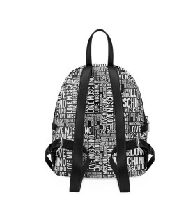 LOVE MOSCHINO BLACK BACKPACK WITH WHITE LOGO