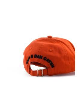 DSQUARED2 D2 LOGO BAKSTEEN ROOD ZWART BASEBALL CAP