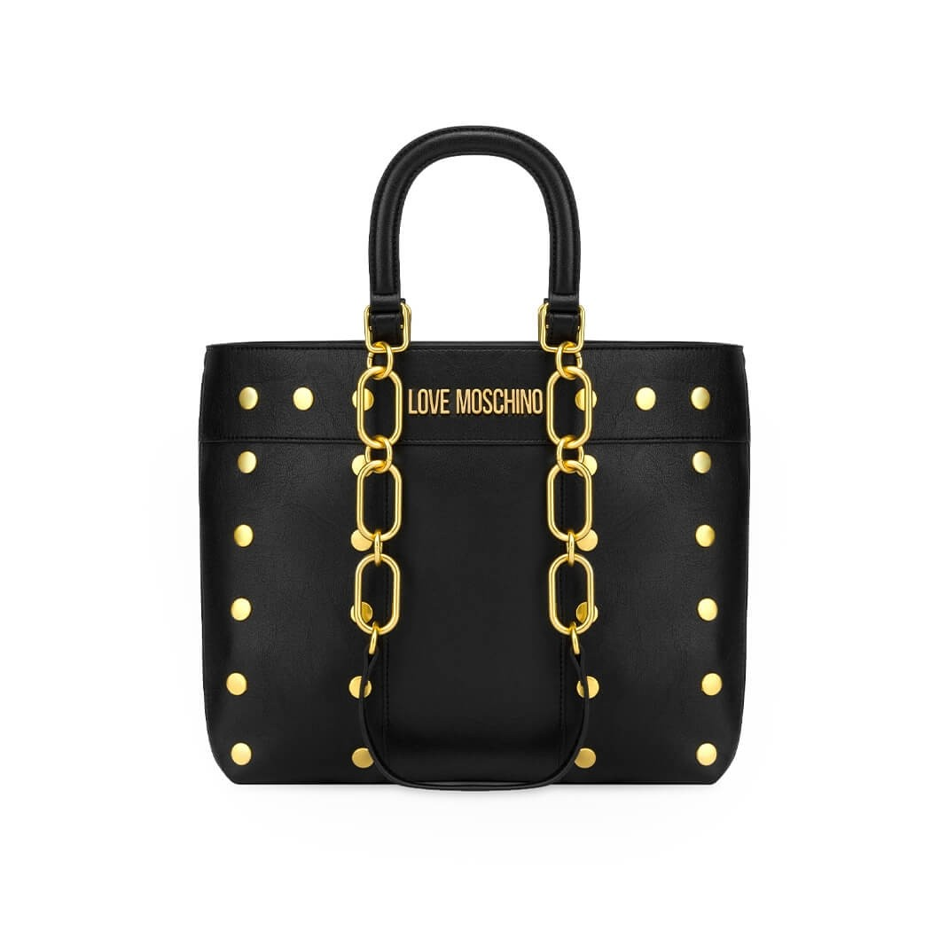 LOVE MOSCHINO BLACK SHOPPING BAG WITH GOLD STUDS