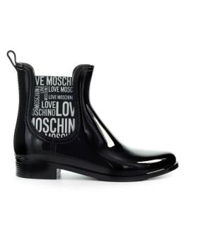 BOTTINES CHELSEA CAOUTCHOUC NOIR LOGO LOVE MOSCHINO